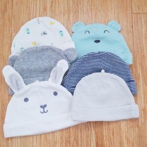 [Carter's] Newborn Hats, Set of 6, 100% Cotton